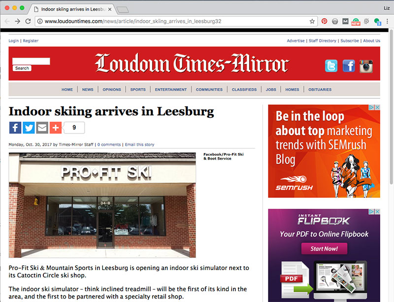 Loudoun Times-Mirror visits Inside Ski Center